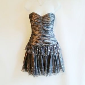 Betsey Johnson Pewter Party Formal Dress Size 2